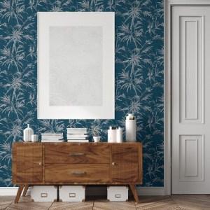 2979-37376-6 Brewster Wallcoverings Bali Hali Fronds Wallpaper Blue Room Setting