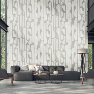 395895 Brewster Wallcoverings Eijffinger Bold Linen Tapestry Wall Mural White Room Setting