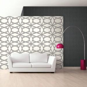 ZN50400 Seabrook Wallcoverings Etten Black and White Asakusa Graphic Trellis Wallpaper White Room Setting