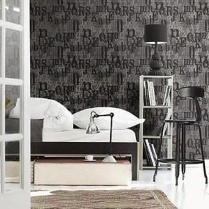 ZN52100 Seabrook Wallcoverings Etten Black and White Shimokitazawa Typeset Wallpaper Black Room Setting