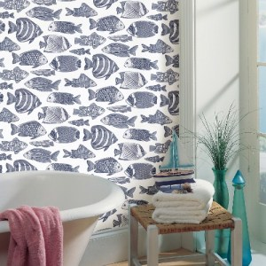 2927-80202 Brewster Wallcoverings A Street Prints Newport Wailea Tropical School Wallpaper Indigo Room Setting