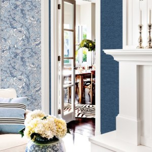 2927-80402 Brewster Wallcoverings A Street Prints Newport Beaufort Peony Chinoiserie Wallpaper Light Blue Room Setting
