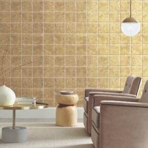 KT2102 Metal Leaf Squares Wallpaper Gold Room Setting