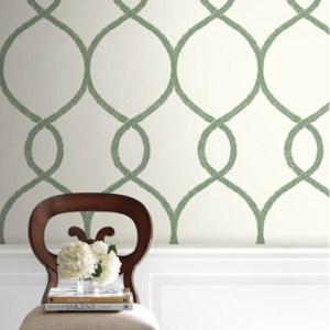 KT2231 York Wallcoverings Ronald Redding 24 Karat Laurel Leaf Ogee Wallpaper Green Room Setting
