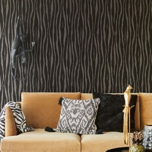 300551 Burchell Zebra Flock Wallpaper Chocolate Room Setting