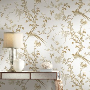 KT2174 York Wallcovering Ronald Redding 24 Karat Bird and Blossom Chinoiserie Wallpaper White Room Setting