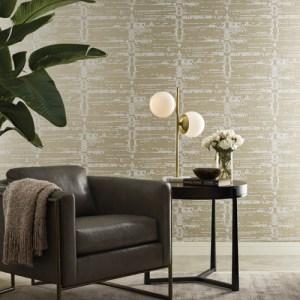 CI2311 York Wallcoverings Candice Olson Modern Artisan 2 Velveteen Wallpaper Gold Room Setting