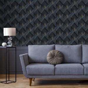 4020-96701 Raoul Fanning Diamonds Wallpaper Navy Room Setting
