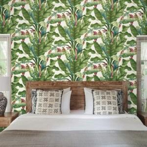 AT7068 York Wallcoverings Tropics Resource Library Banana Leaf Wallpaper White Room Setting
