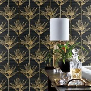 TC2674 York Wallcoverings Tropics Resource Library Bird of Paradise Wallpaper Black Room Setting