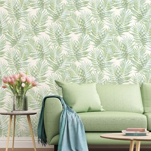 G67943 Patton Wallcoverings Speckled Palm Wallpaper Light Green Room Setting