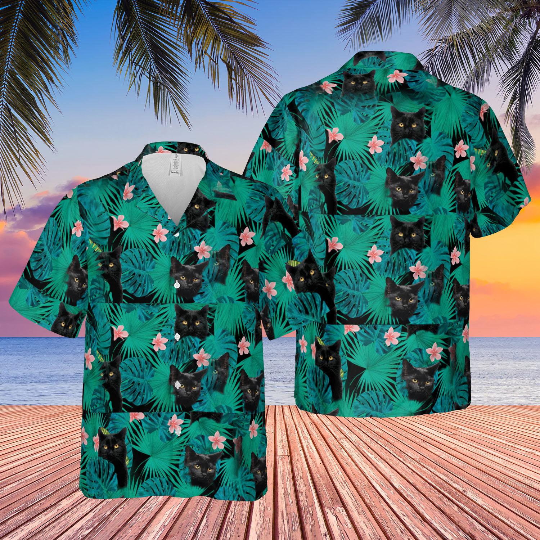 Published 15/05/2021 at 2000 × 2000 in mockup.gif. Black Cat Hawaiian Shirt Lelemoon