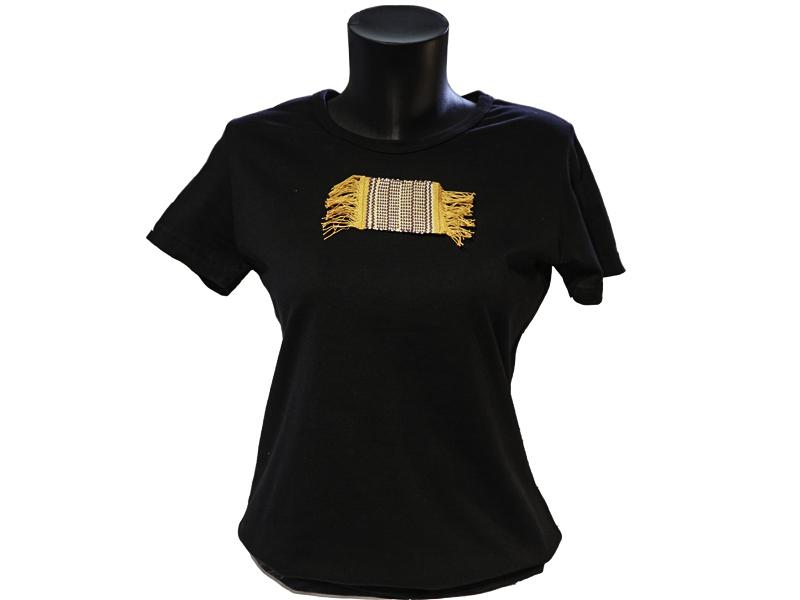T shirt coton bio femme avec application tissée main