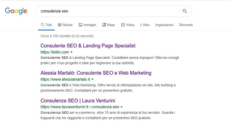 Comparire in prima pagina Google Consulenza SEO