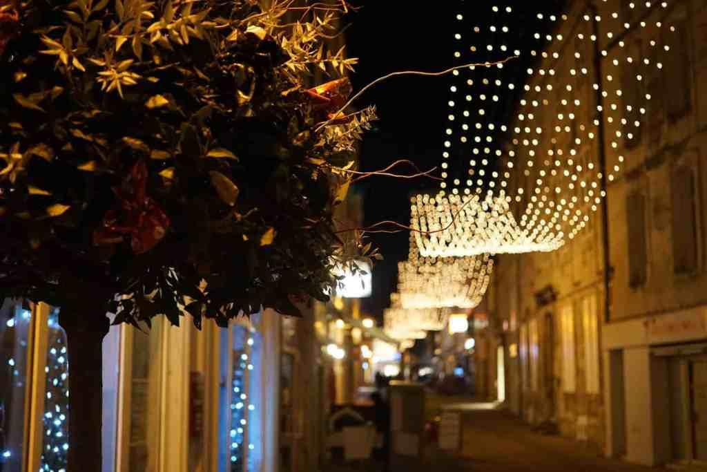 Saintes at night. French towns at Christmas time.