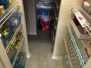 You should have seen how much messier this was before, with stuff all over the floor and falling off shelves and all!!