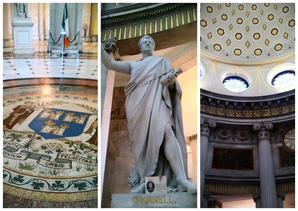 Dublin's Coat of Arms, statue of O'Connell, and the rotunda