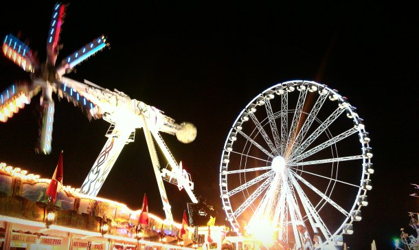 The Giant Observation Wheel and another ride. This is one of my favourite pictures from the trip.