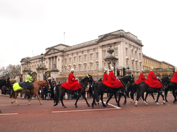 Horse guards leaving the Buckingham palace at the end of changing of the guards ceremony