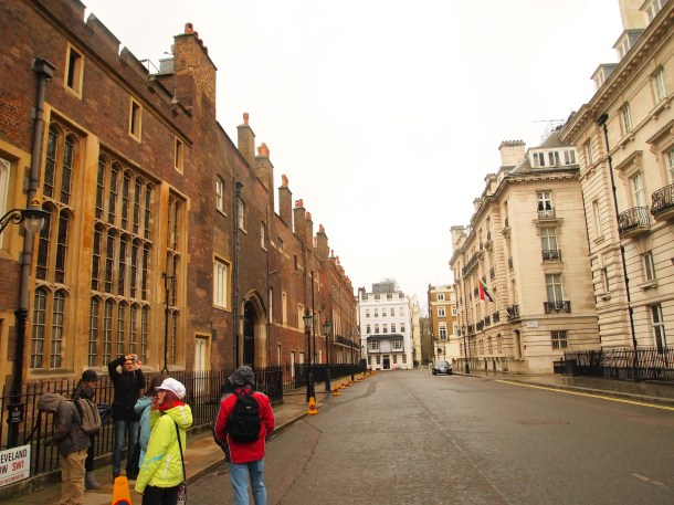St. James' Palace (left) - where King Henry VIII lived with his wives