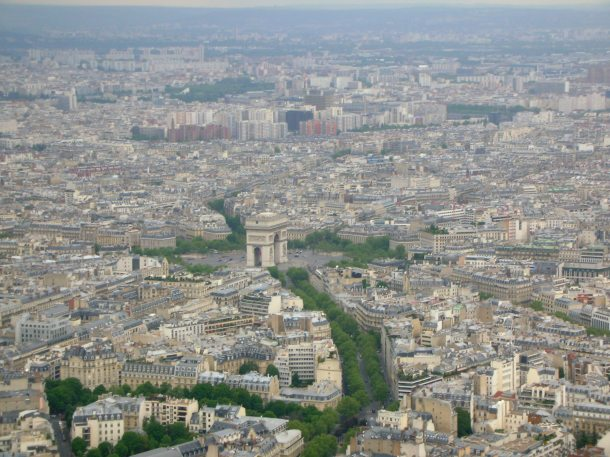 The Arc de Triomphe as seen from the top of the Tower
