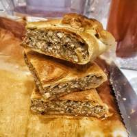 Tofu and mushroom stuffed brisée pastry - Short crust pastry