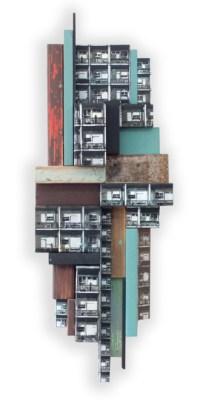 23092013-Jana & Js_Reconstitution n°63_2013_73x27cm_pochoir, aérosol, acrylique sur assemblage de bois_Courtesy Galerie Openspace