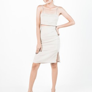 Amihan top & Yana skirt in Beige