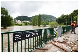 Le pont de l'Arrouza. Visiblement l'eau est passée par dessus.
