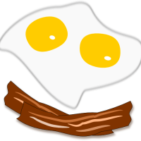 Sunny side up eggs and bacon sketch by John LeMasney via 365sketches.org #cc-by #creativecommons #illustration