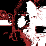 High contrast multi-scan self portrait in red, white and black cc-by lemasney