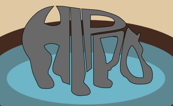 A hippo made of text by John LeMasney via 365sketches.org #Inkscape #design #typography
