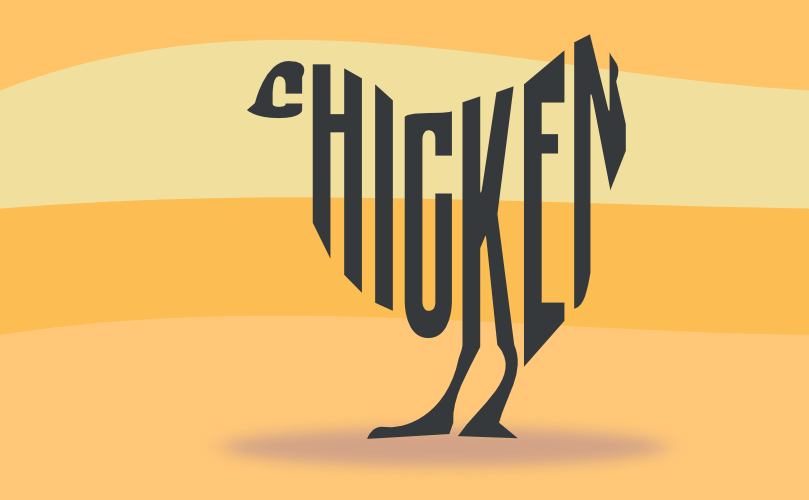 A chicken made of text by John LeMasney via 365sketches.org #Inkscape #design #typography