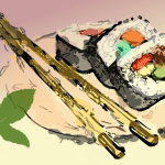 Sushi illustration by John LeMasney via 365sketches.org #cc #drawing #sketch