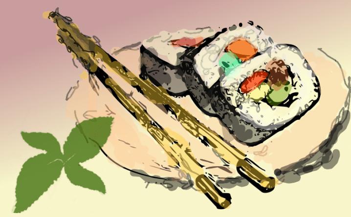 Sushi sketch by John LeMasney via 365sketches.org #cc #design #sushi