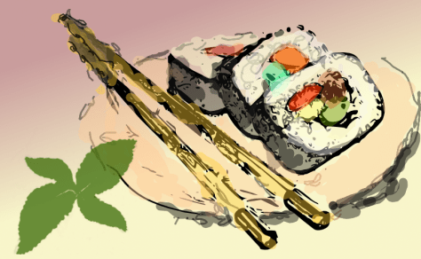Sushi sketch by John LeMasney via 365sketches.org #cc #design #sushi