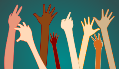 20121207: raised hands in a diverse classroom by John LeMasney via 365sketches.org #illustration #creativecommons