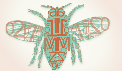 20121220: A honeybee made out of text by John LeMasney via 365sketches.org #creativecommons #design