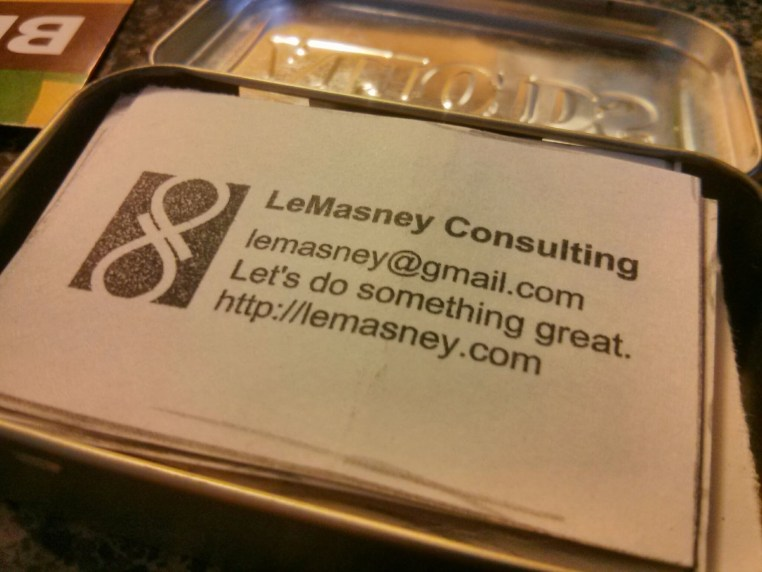 Hand-made, stamped, recycled business cards by John LeMasney via lemasney.com