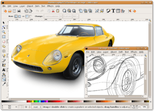 Screenshot of Inkscape 0.45 on Ubuntu, showing...