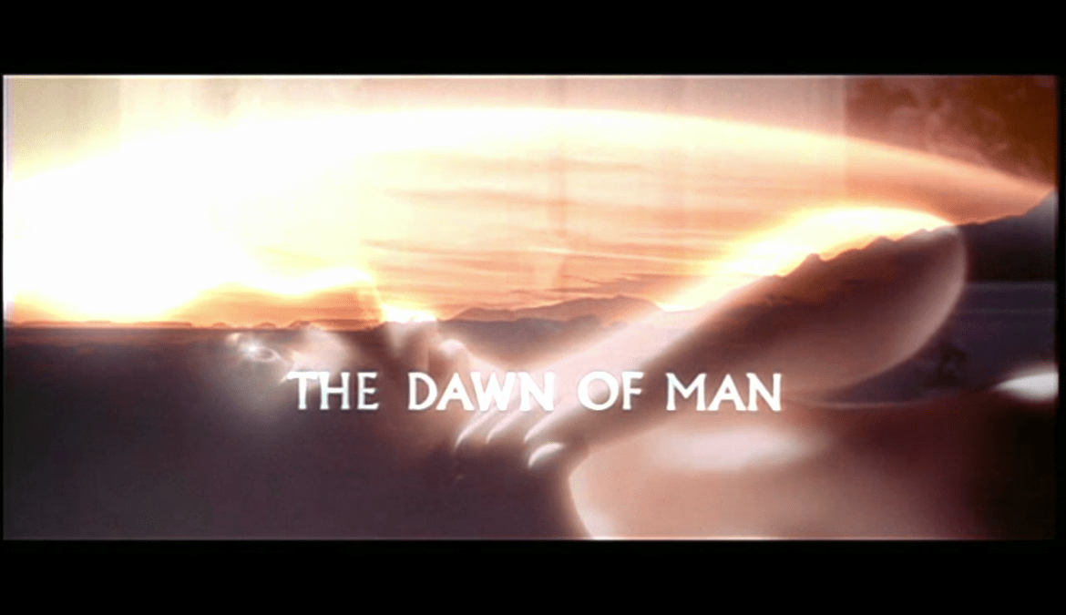 The Dawn of Man superimposed over Dave's dawn as a space traveler.