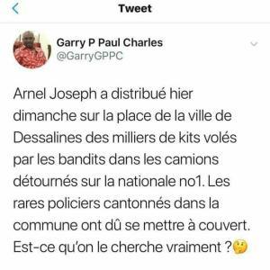 Haïti: Arnel Joseph aurait distribué plusieurs milliers de kits dans la ville de Dessalines 1