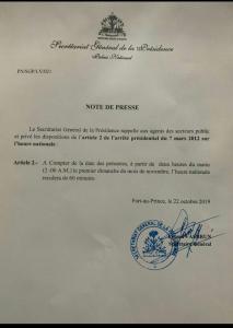 Haïti: L'heure nationale sera reculée de 60 minutes à partir du dimanche 3 novembre 2019 1