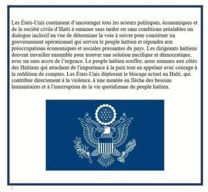 Haïti-Crise: Les États-Unis renouvellent l'appel au dialogue pour constituer un gouvernement opérationnel 1