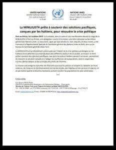 Haïti-Crise: La MINUJUSTH prête à soutenir des solutions pacifiques 1