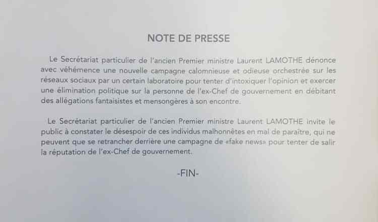 Haïti-Politique : Le Secrétariat particulier de Laurent Lamothe dénonce la campagne de désinformation du secteur mafieux 1