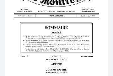 Quatre (4 ) nouvelles nominations au sein de l'Administration Moïse/Jouthe 4