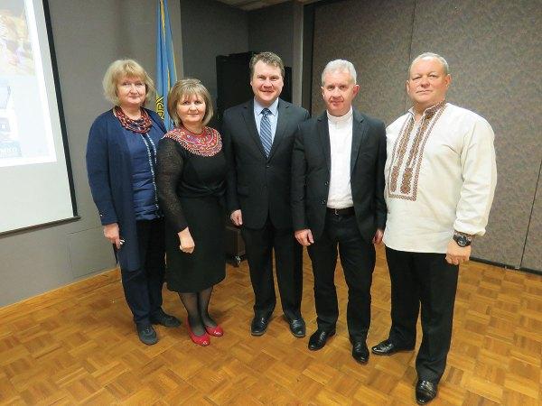 Iko Labunka At the Philadelphia meeting of the Organization for the Defense of Lemkivshchyna (from left) are: Lesia Nestor, Anna Yaworsky, Mark Howansky, Father Bohdan Prach and Myron Vasylkiv