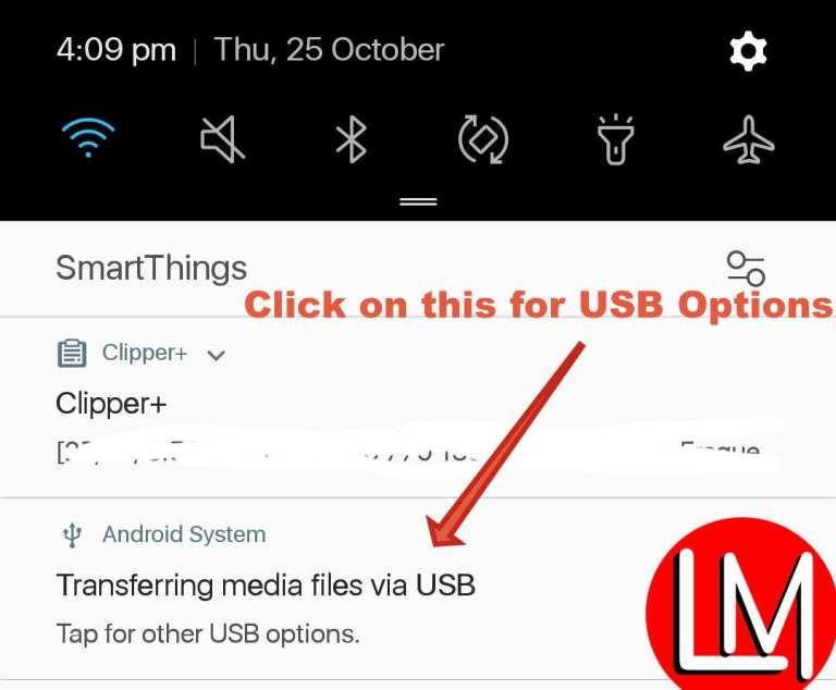 how to activate the USB option in Android