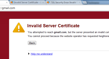 solution to invalid server certificate on google chrome win 8 / win 7